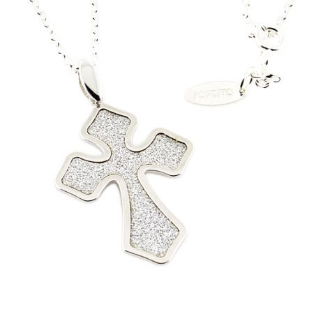 POPDITO Collier Kreuz silber 925 diamond cut Ankerkette 50cm